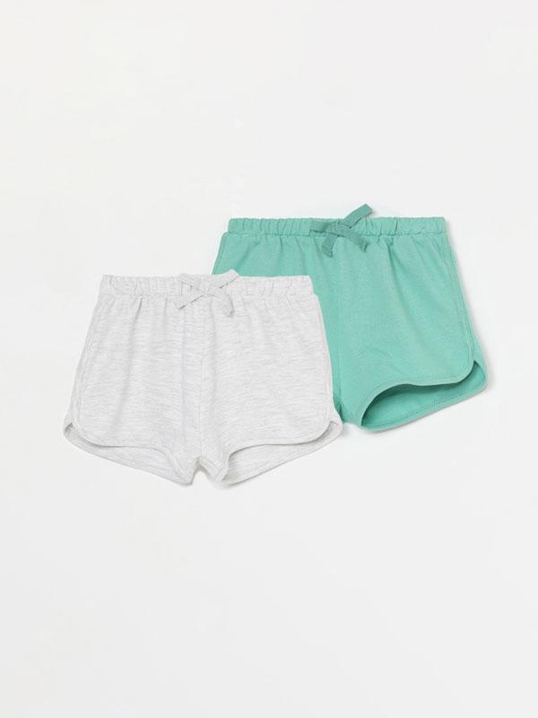 Pack de 2 pantalóns curtos de felpa básicos lisos