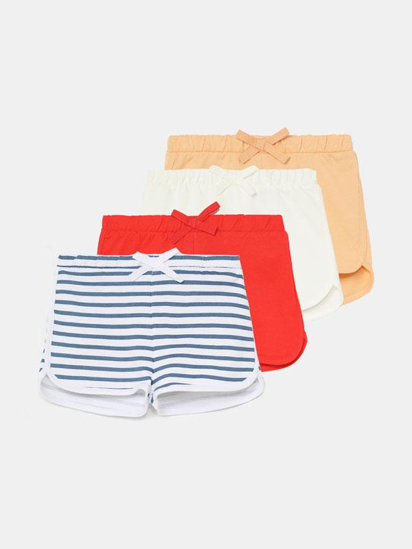 Pack de 4 shorts básicos liso y franja