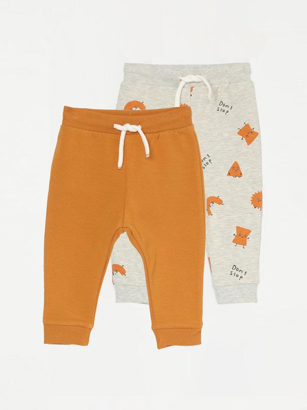 Pack de 2 pantalóns de chándal básicos liso e estampado