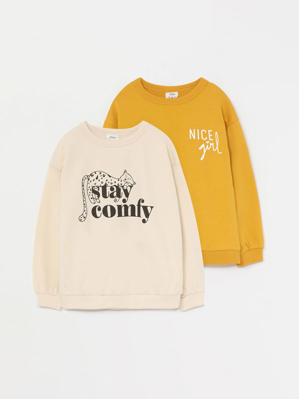 Pack of 2 printed sweatshirts