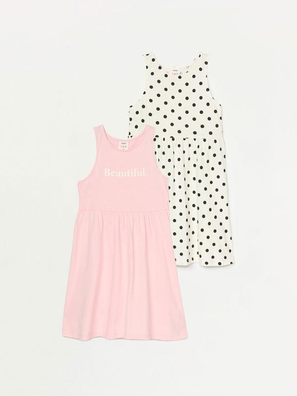 Pack de 2 vestidos básicos estampados de alças