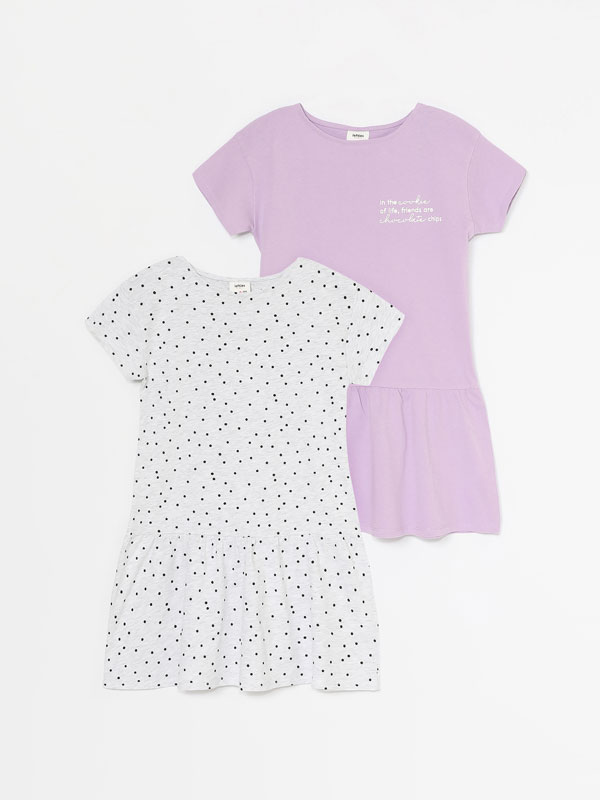PACK OF 2 BASIC PRINTED SHORT SLEEVE DRESSES