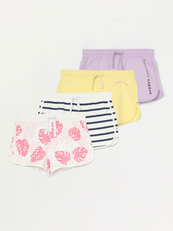Pack of 4 printed plush shorts