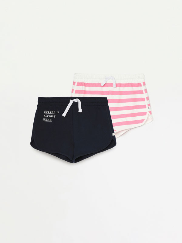 PACK OF 2 BASIC PRINTED PLUSH SHORTS