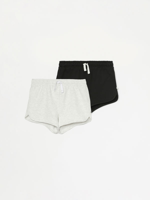 Pack of 2 basic plain plush shorts