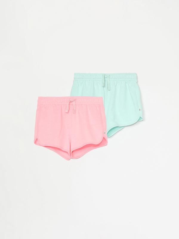 Pack de 2 shorts de felpa básicos lisos