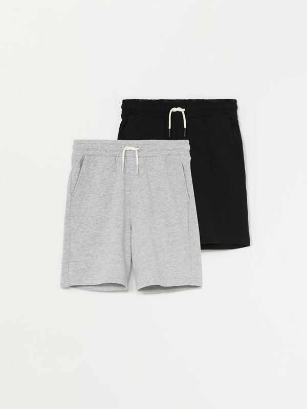 Pack of 2 pairs of basic plush Bermuda shorts