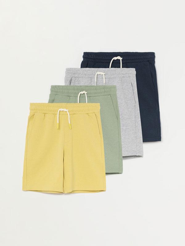 Pack of 4 pairs of basic plush Bermuda shorts