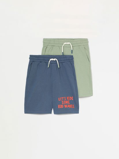PACK OF 2 PLAIN AND PRINTED BERMUDA SHORTS