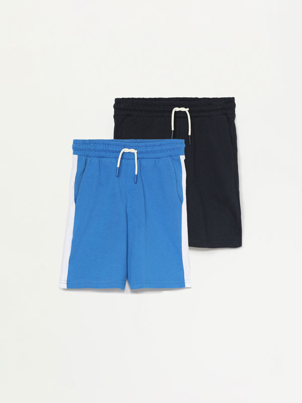 PACK OF 2 PLAIN AND SIDE STRIPE BERMUDA SHORTS