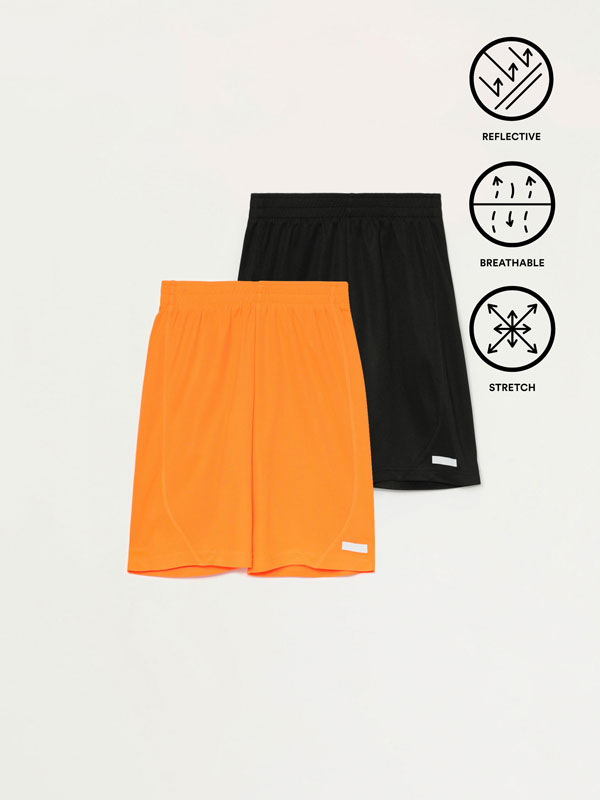 2-Pack of breathable Bermuda sports shorts