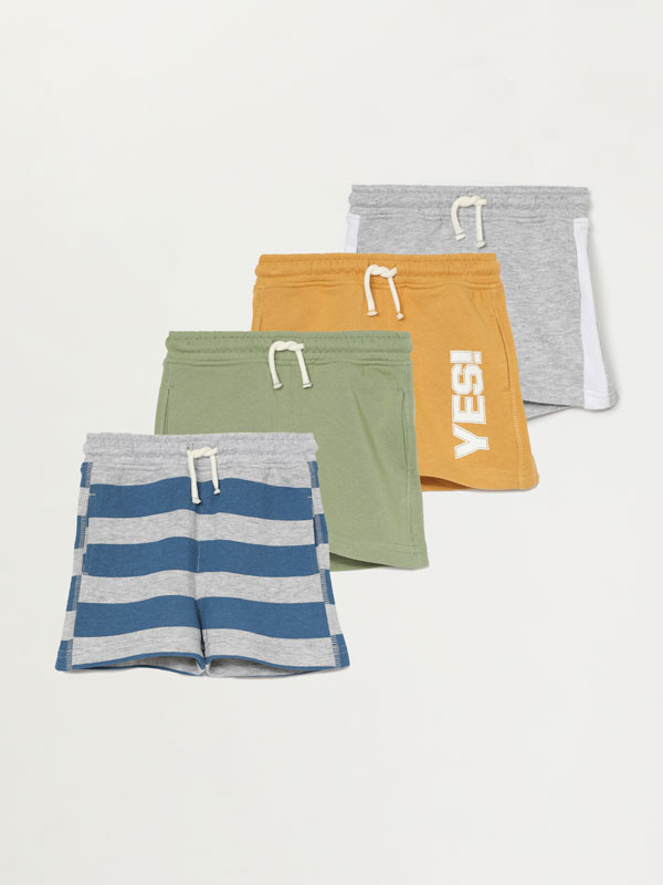 Pack of 4 plush Bermuda shorts