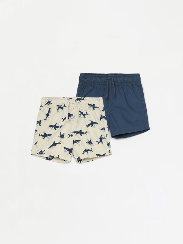 Pack of 2 plain and printed cotton Bermuda shorts