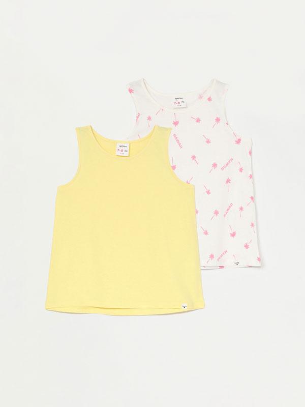 Pack de 2 camisetas de tirantes lisa e estampada