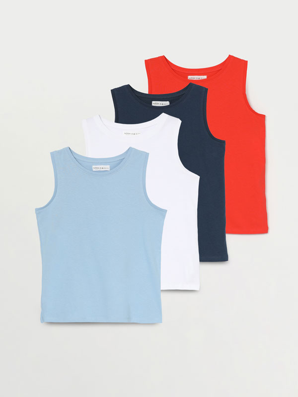 4-PACK OF PLAIN VEST TOPS