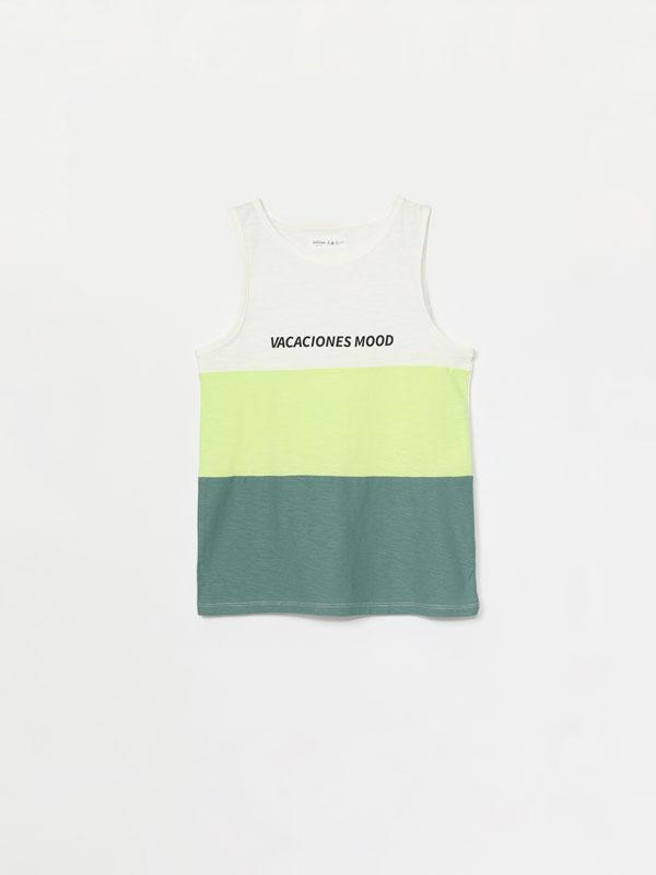 T-shirt de alças estampada
