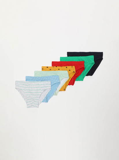 7-PACK OF PLAIN AND PRINTED COLOURED BRIEFS