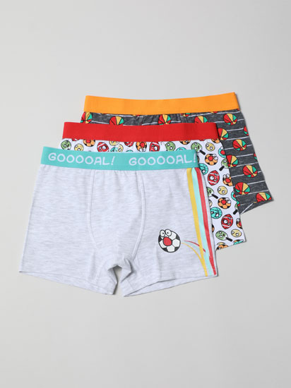 Pack of 3 sports football print boxer briefs