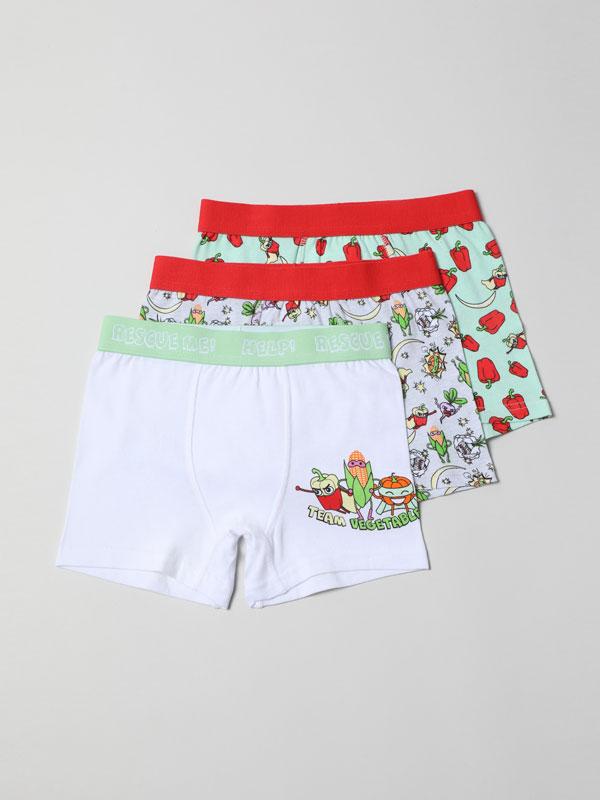 Pack de 3 boxers justos com estampados de vegetais.