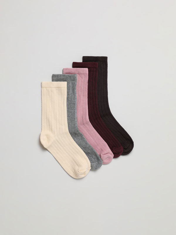 Pack of 5 pairs of basic long socks
