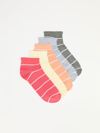 5-PACK OF STRIPE PRINT ANKLE SOCKS