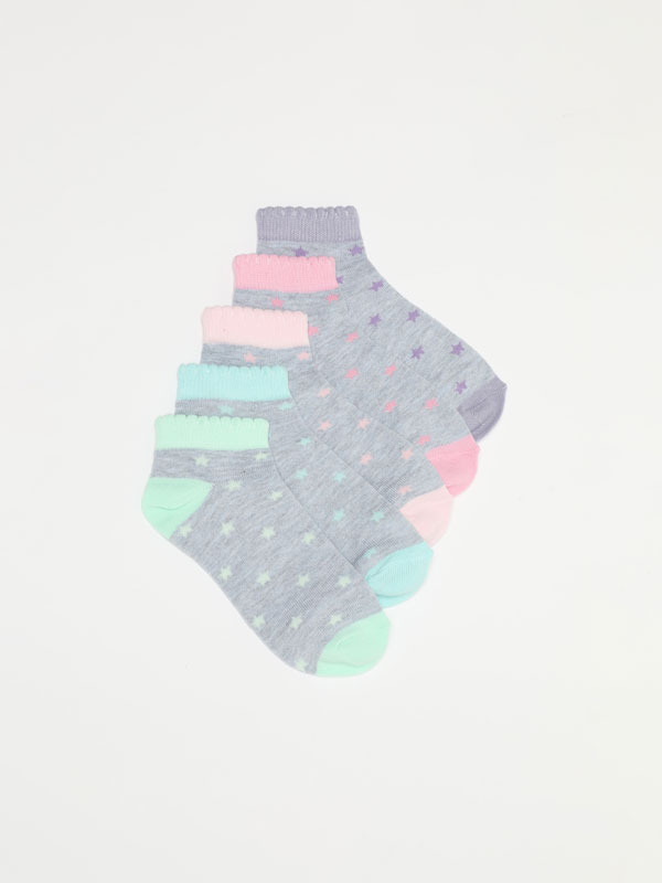 5-PACK OF STAR PRINT ANKLE SOCKS