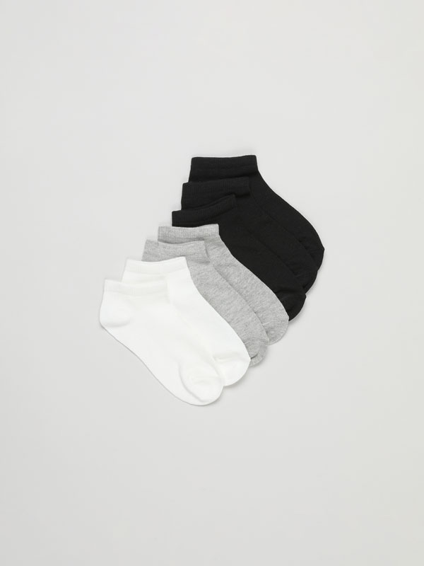 Pack of 7 pairs of basic coloured ankle socks