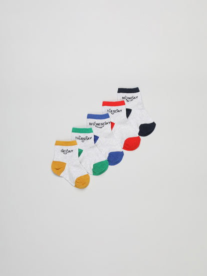 Pack of 5 pairs of ankle socks with days of the week print