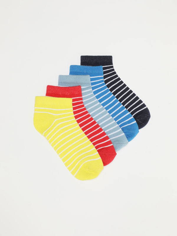 5-PACK OF STRIPED ANKLE SOCKS