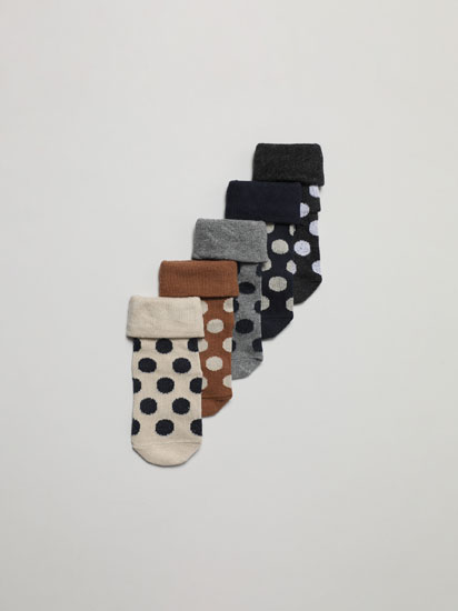 PACK OF 5 PAIRS OF LONG POLKA DOT SOCKS WITH RIBBED FOLD-DOWN CUFFS