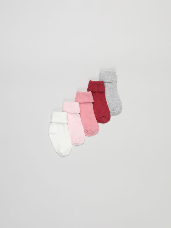Pack of 5 pairs of long socks with ribbed fold-down cuffs.