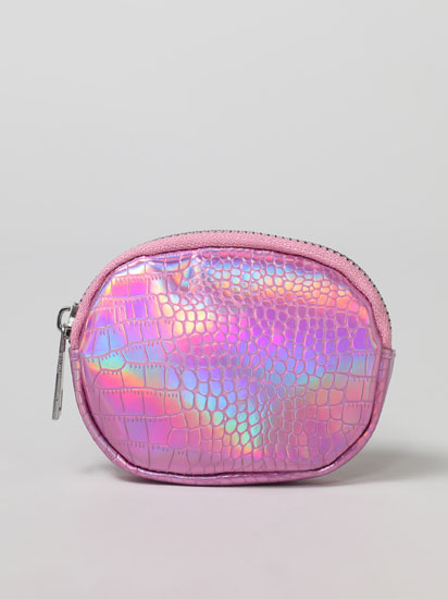 Round iridescent faux leather purse