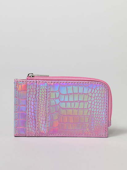 Iridescent faux leather card holder