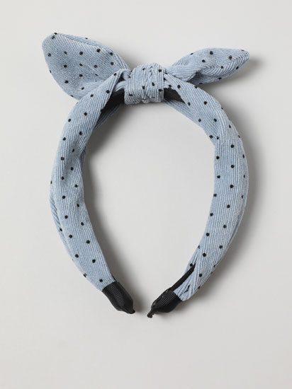 Corduroy headband with polka dots