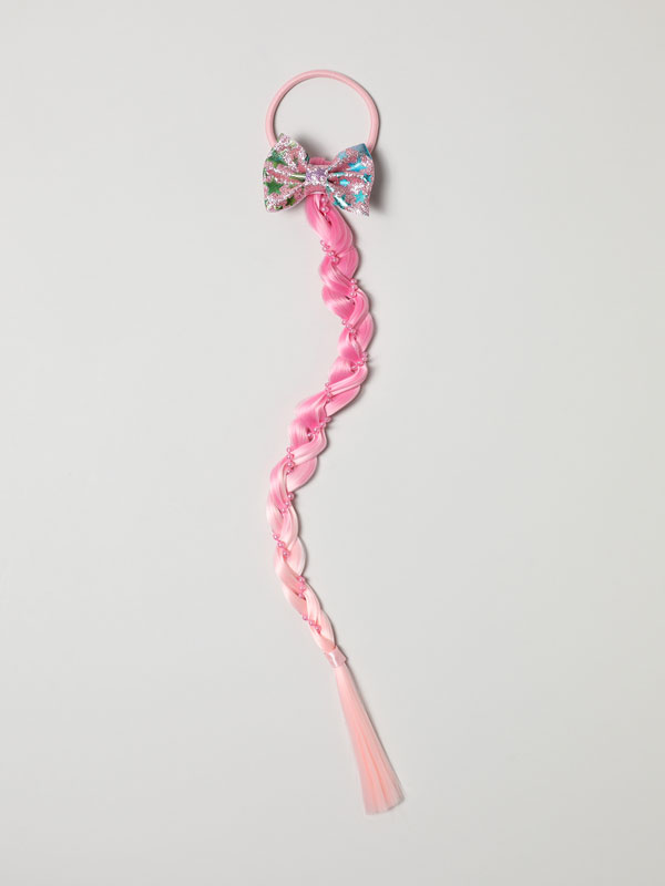 COLOURFUL HAIR TIE WITH PLAIT AND BOW