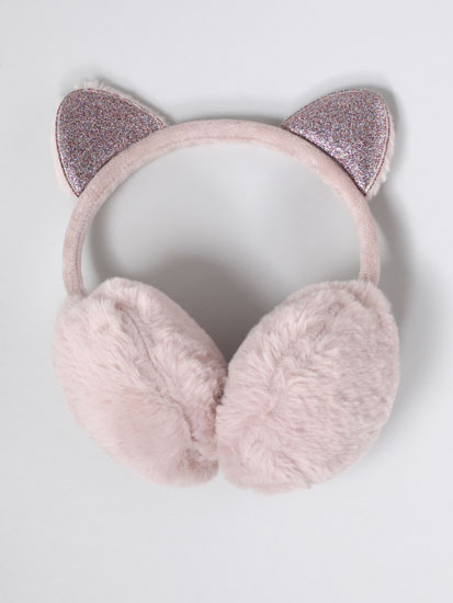 Faux fur earmuffs with shiny detail