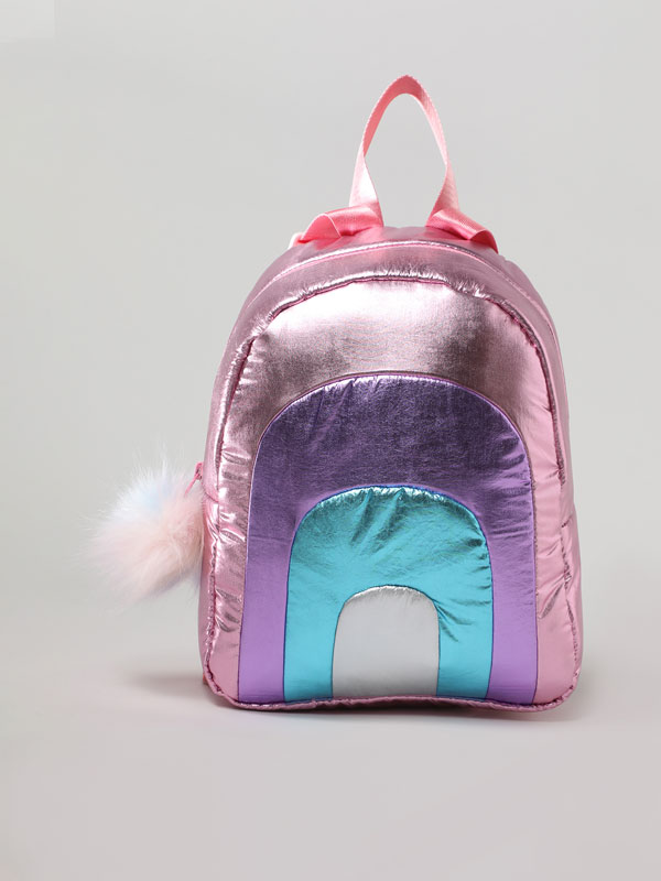 Metallic rainbow backpack