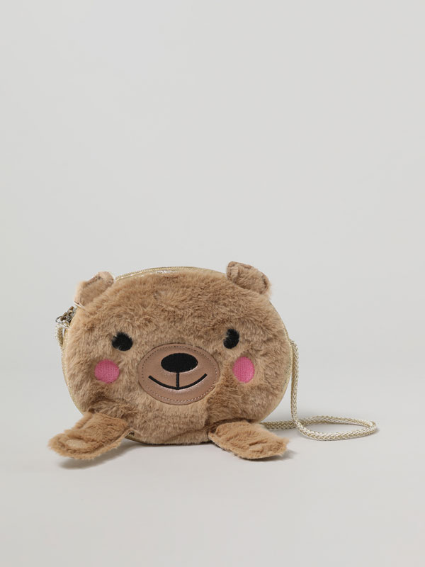 INTERACTIVE BEAR BAG WITH FAUX FUR