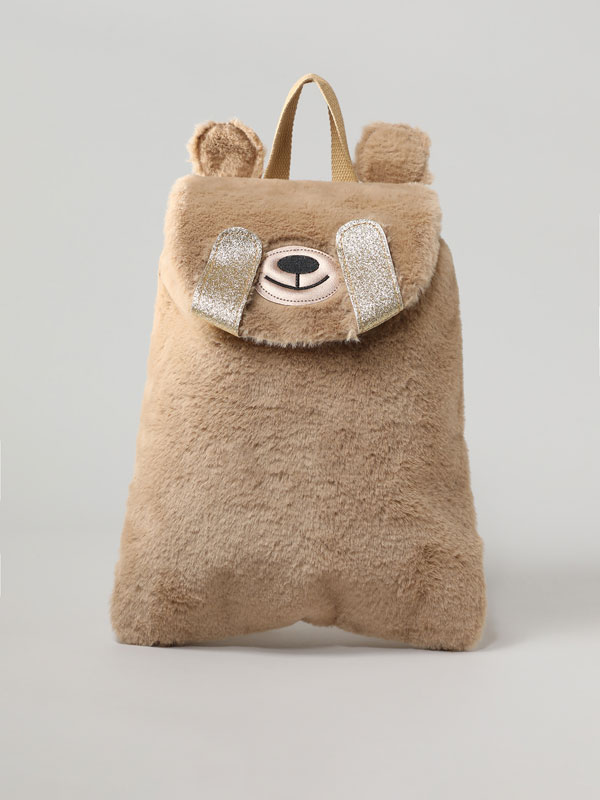 INTERACTIVE BEAR BACKPACK WITH FAUX FUR