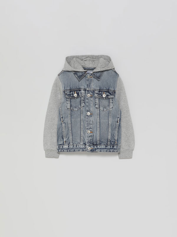 Denim jacket with plush sleeves