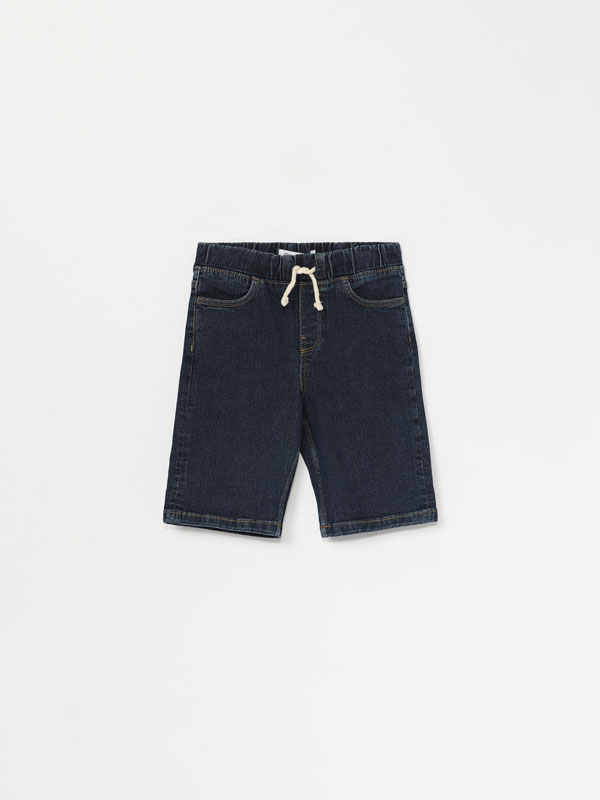 Denim jogging Bermuda shorts
