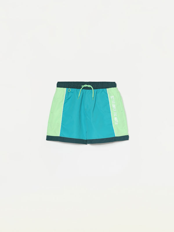 Colour block swimming trunks