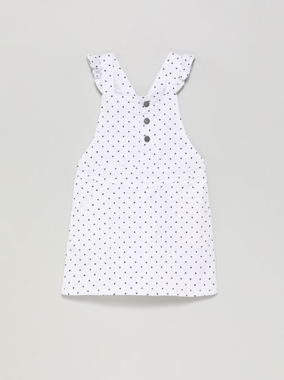 PINAFORE DRESS WITH RUFFLED SLEEVES