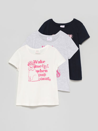 Pack of 3 printed short sleeve T-shirts