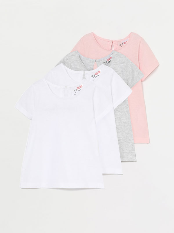 PACK OF 4 PLAIN SHORT SLEEVE T-SHIRTS