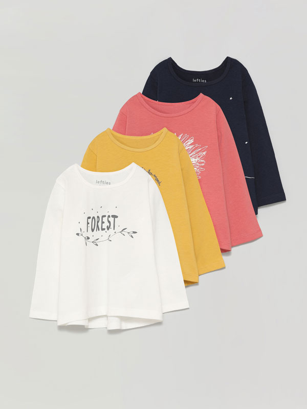 Pack of 4 printed long sleeve T-shirts