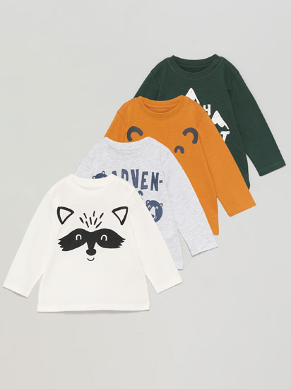 Pack de 4 camisetas estampadas de manga larga