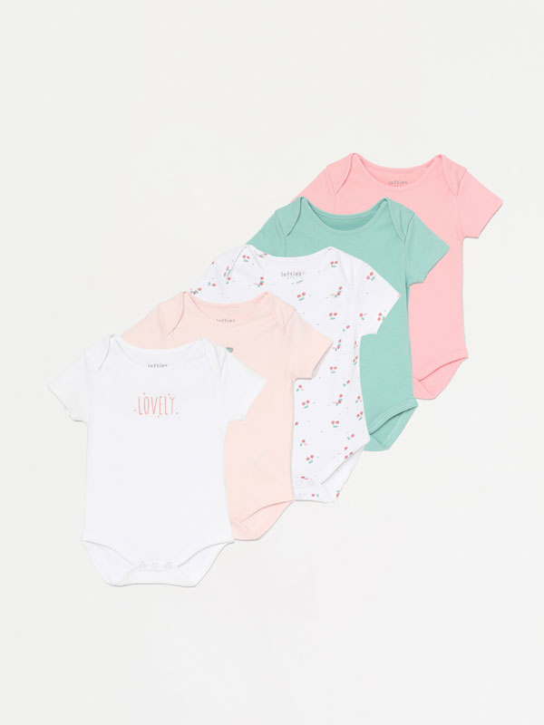 PACK OF 5 SHORT SLEEVE BODYSUITS