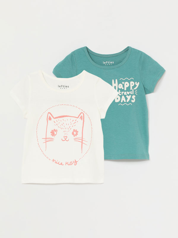 PACK DE 2 T-SHIRTS ESTAMPADAS