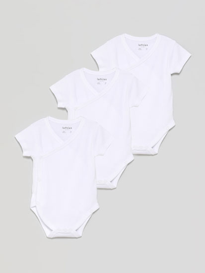 Pack of 3 basic short sleeve kimono bodysuits